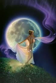 Woman on the Mountain with the Moon in the back ground