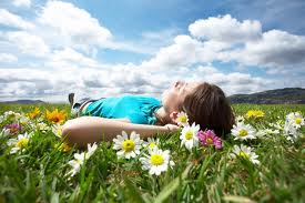 Woman resting in flowers